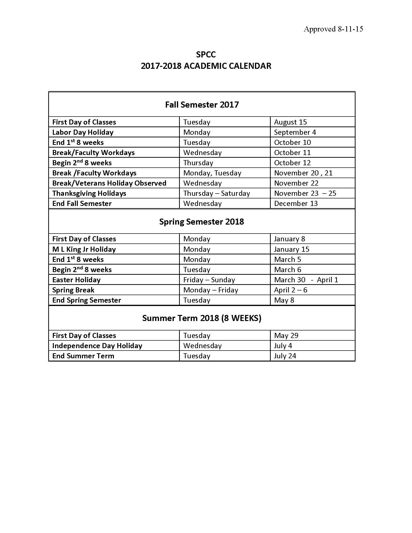 Calendar | South Piedmont Community College
